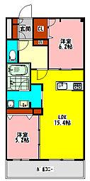 京阪本線 守口市駅 徒歩8分の賃貸マンション 1階2LDKの間取り