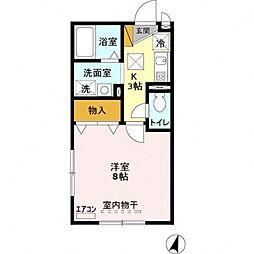 千葉県松戸市大金平1丁目の賃貸アパートの間取り