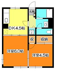 東京都東久留米市幸町2丁目の賃貸アパートの間取り