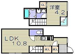 大阪府大阪市福島区海老江8丁目の賃貸アパートの間取り