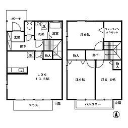 御料所ガーデン A/B/C[B2号室]の間取り