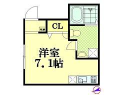 神奈川県横浜市鶴見区下野谷町4丁目の賃貸アパートの間取り