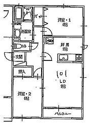 JR山形新幹線 山形駅 バス18分 小白川4丁目下車 徒歩4分の賃貸アパート 1階2LDKの間取り