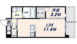 フェニックスクローブトモイ 9階1LDKの間取り