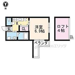 京都市営烏丸線 北大路駅 バス9分 千本北大路下車 徒歩4分の賃貸アパート 2階1Kの間取り