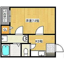 福岡県久留米市中央町の賃貸アパートの間取り