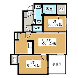 Prescelto西線11条[1階]の間取り
