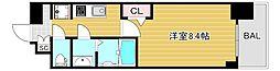 プレサンス心斎橋ソレイユ 8階1Kの間取り