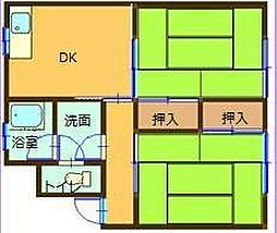 コーエイマンション第2 3階2DKの間取り