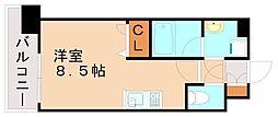 エンクレスト天神LIFE 11階ワンルームの間取り