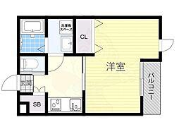 南海線 石津川駅 徒歩8分の賃貸アパート 1階1Kの間取り