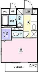 東京都国立市中1丁目の賃貸アパートの間取り