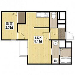 広島電鉄宮島線 東高須駅 徒歩18分の賃貸マンション 1階1LDKの間取り