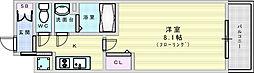 阪急京都本線 上新庄駅 徒歩3分の賃貸マンション 5階1Kの間取り