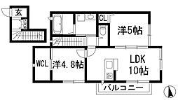 兵庫県川西市下加茂1丁目の賃貸アパートの間取り