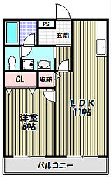 フジパレス楓[2階]の間取り