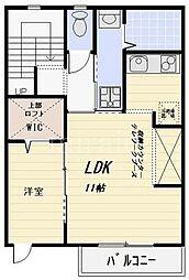 ミーツハオス 2階1LDKの間取り