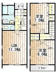 [テラスハウス] 神奈川県相模原市南区御園4丁目 の賃貸【/】の間取り