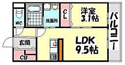 大阪府堺市西区鳳中町3丁の賃貸アパートの間取り