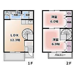 [テラスハウス] 愛知県清須市鍋片2丁目 の賃貸【/】の間取り