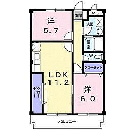 マリッチ大舘II号館[2階]の間取り