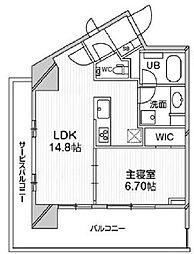 都営浅草線 高輪台駅 徒歩5分の賃貸マンション 11階1LDKの間取り