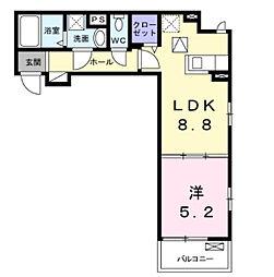 近鉄南大阪線 布忍駅 徒歩4分の賃貸アパート 1階1DKの間取り