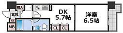 コスモグラシティ梅田東 4階1DKの間取り