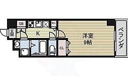 プリフェラブル栄 8階1Kの間取り