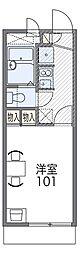 阪急箕面線 牧落駅 徒歩4分の賃貸アパート 1階1Kの間取り