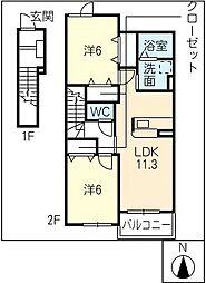プルミエ・ラムールA棟[2階]の間取り