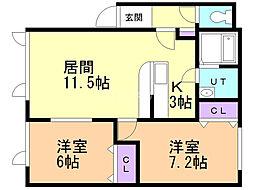 清風92 2階2LDKの間取り