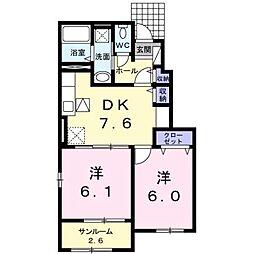 西鉄天神大牟田線 蒲池駅 5.6kmの賃貸アパート 1階2DKの間取り