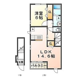 JR湖西線 安曇川駅 徒歩9分の賃貸アパート 2階1LDKの間取り