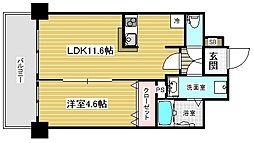 アドバンス三宮2ライズ 5階1LDKの間取り