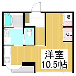 メディカル権堂305 3階ワンルームの間取り