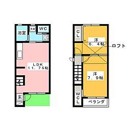 [テラスハウス] 愛知県知多市八幡字新道 の賃貸【/】の間取り