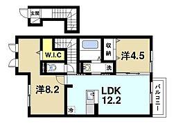 (仮称)D-room谷 2階2LDKの間取り