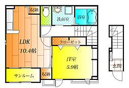 大阪府松原市立部1丁目の賃貸アパートの間取り