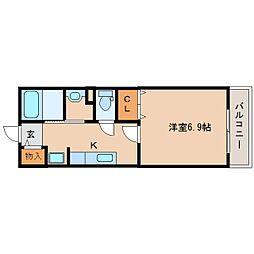 奈良県奈良市西大寺新町2丁目の賃貸アパートの間取り
