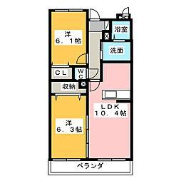 プラシードA[3階]の間取り