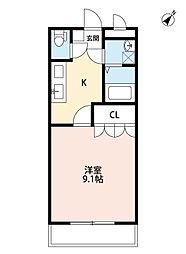 北九州都市モノレール小倉線 徳力公団前駅 徒歩18分の賃貸アパート 1階1Kの間取り