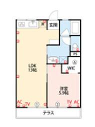 JR鹿児島本線 久留米駅 徒歩10分の賃貸アパート 1階1LDKの間取り