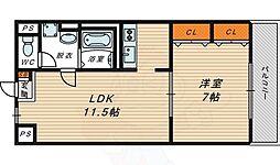 クレール 3階1LDKの間取り