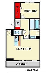 D-room白木原 2階1LDKの間取り