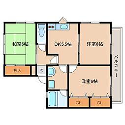 静岡県静岡市駿河区みずほ1丁目の賃貸アパートの間取り