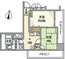 神奈川県横浜市神奈川区子安通1丁目の賃貸マンションの間取り