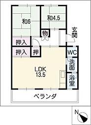 杉山コーポC棟[4階]の間取り