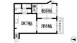 兵庫県宝塚市売布ガ丘の賃貸アパートの間取り