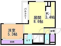 プレシェルト北栄 4階1LDKの間取り